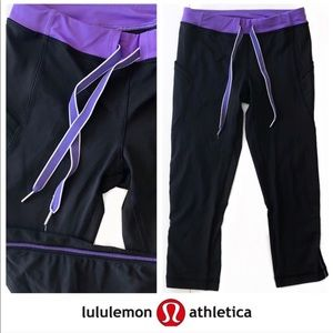 Lululemon Black Run Legging Drawstring Waist NEW